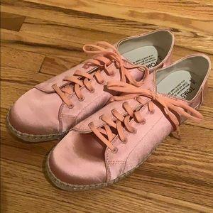 TOMS satin pink sneakers